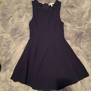 Navy short fit and flare dress